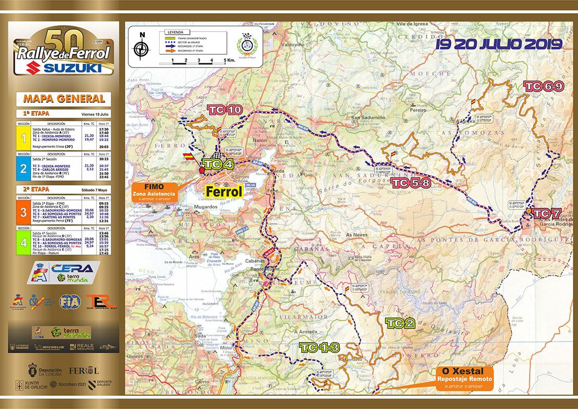 CERA: 50º Rallye de Ferrol [19-20 Julio] Mapa-2019
