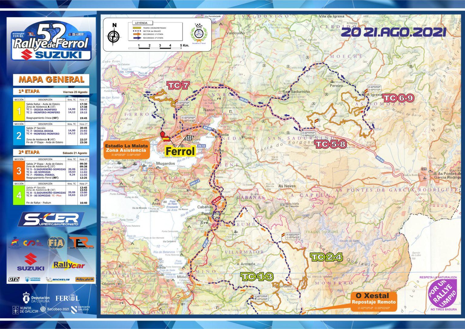 SCER + TER: 52º Rallye de Ferrol - Suzuki [20-21 Agosto] Mapa-A3_LR-1536x1087
